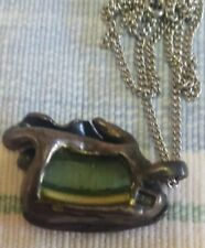 Antique Roman Glass and Sterling Silver Necklace
