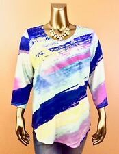 CJ&BANK *NEW (XL) MULTI SCOOP NECK 3/4 SLEEVES LOOSE TOP