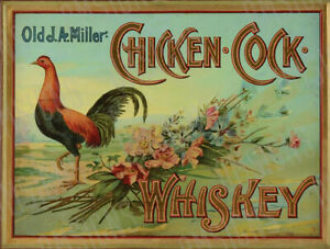 Vintage Chicken And Cock Whiskey Metal Sign FREE SHIPPING Bar Decor Whiskey