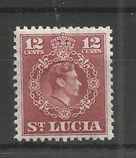 ST LUCIA 1949 GEORGE 6TH 12c CLARET SG,153 M/MINT LOT 6292A