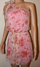 VICKY MARTIN pink peach one shoulder floral mini party dress BNWT 14 RRP £155!