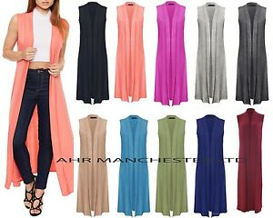New Ladies Womens Sleeveless Boyfriend Front Open Maxi Cardigan Long Length 8-30