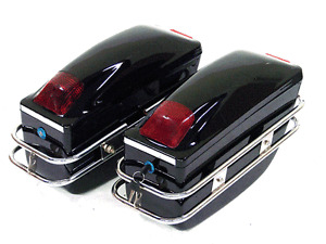 1 Pair Motorcycle Hard Trunk Saddle Bag Box Side Luggage w/ Tail Lights Black