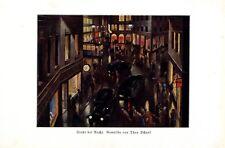 Stadt bei Nacht Kunstdruck 1934 von Theo Scharf Nachtleben Großstadt 30er Jahre