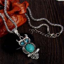 Cute Amazing Owl Lady Retro Bohemia Style Turquoise Stone Necklace Pendant