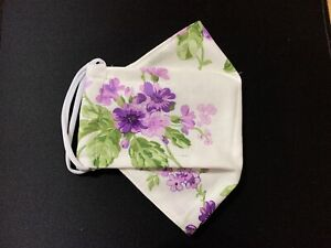 (1) 3D Cotton Face Mask Full Cover Purple Flowers On White - Fancy Look