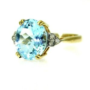9ct 9k Gold Topaz Diamond Solitaire Ring Size 7 1/4 - O