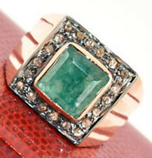 0.70ct Rose Cut Diamond Emerald Antique Victorian Look 925 Silver Cocktail Ring