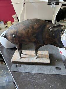 Metal  Animal Ornament Pig Sculpture Statue
