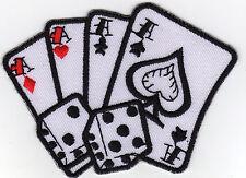 Aufnäher Bügelbild Iron on Patches Karten Würfel 4 Asse Glücksspiel (a4o3)