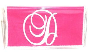 Fancy White Initial D on Pink Cotton & Vinyl checkbook cover FD7 New Handmade