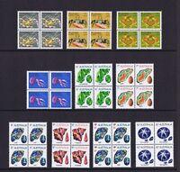 Australian Decimal Stamps 1973- 74 Marine and Gem Set 10 Blocks 4 MNH
