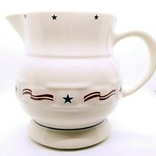 Longaberger Pottery All American Stars & Stripes Pitcher #5491 2Qt Retired Htf