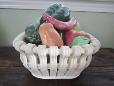 Ceramic Art Pottery Basket of Fruit Vegetables Made in Spain Beautiful Colorful