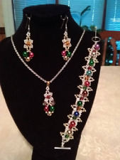 OOAK Handmade Beadwoven Christmas Necklace, Bracelet and Earrings Set