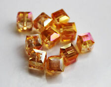New 10PCS 8mm Faceted Square Cube Cut Glass Crystal Loose Spacer Beads