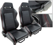 1 PAIR BLACK PVC LEATHER + RED STITCHING RACING SEATS RECLINABLE ALL DODGE
