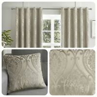 Curtina CHATEAU Natural Jacquard Eyelet Curtains & Cushions
