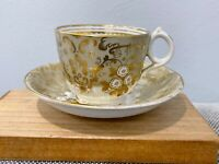 Antique Likely English Porcelain Cup & Saucer w/ Gold Floral Decoration