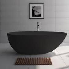 FREE STANDING STONE BATH 1700mm  -GLOSS BLACK -BAHAMA #ST03-B
