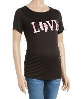 Maternity T-Shirt Size UK 12 Ladies Womens Black & Pink 'Love' Top BNWT #905