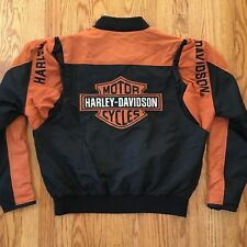 Harley Davidson Orange Black Nylon BAR & SHIELD Jacket 97068-00V MEDIUM / LARGE