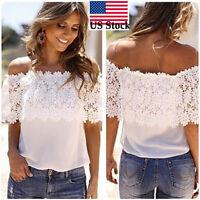 Summer Women Off Shoulder Casual Tops Blouse ladies Chiffon Lace Crochet Shirt