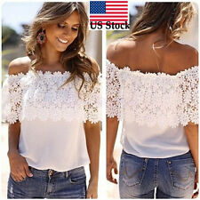 Women Off Shoulder Casual Tops Blouse ladies Chiffon Lace Crochet Shirt S