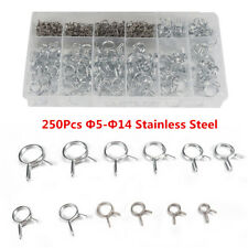 250Pcs Motorcycle Stainless Steel Fuel Line Hose Tube Spring Clamp Assortment