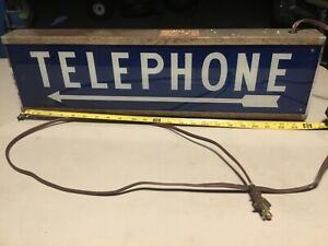 Vintage Telephone Sign, Blue Glass, Lighted, FREE SHIPPING!!