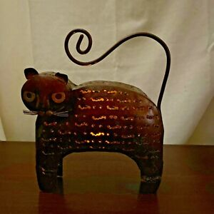"""Handmade Copper-colored Metal Cat Tea Light Candle Holder Hangs or Stands 10"""" H"""