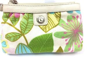 NWOT - Spartina 448 - Island Girl Multicolor Linen Wristlet  Leather Accents