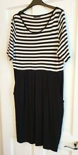 M&S Black Striped Jersey Dress. Size 18. Brand New.