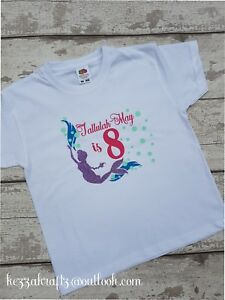 Mermaid Birthday Age T-Shirt Personalised Tshirt Top Any Name age 3-4 Party