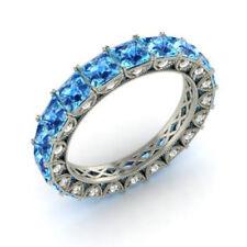 4.40 Ct Natural Diamond Blue Topaz Eternity Band 14K White Gold Ring Size K L M