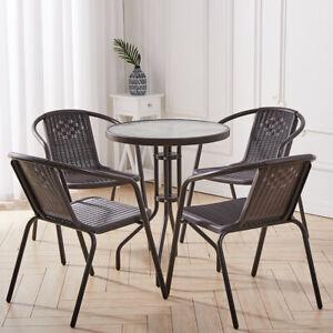 Bistro Set Wicker Chairs Round Top Glass Table Rattan Seat Outdoor Garden Patio