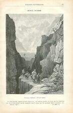 Défilé Puerto de los Perros Andalousie Espagne Dessin de Grandsire GRAVURE 1887