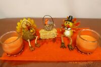 MR & MRS TURKEY Autumn THANKSGIVING Decoration Scented CANDLES Fall CENTERPIECE