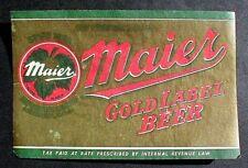 IRTP GOLDEN LABEL BEER BOTTLE LABEL MAIER BREWING CO. LOS ANGELES, CALIF.