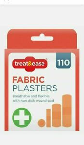 110 Fabric Plasters ,Skin-Friendly,4x Assorted Plasters   First Aid Plasters UK