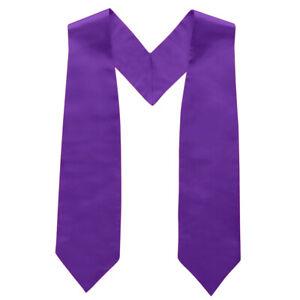 """TopTie Adult Graduation Plain Stole Shiny Satin 50"""" Long Blue Gold Purple"""