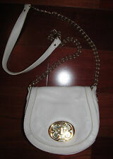 EMMA FOX white leather crossbody chain accent flap closure bag purse