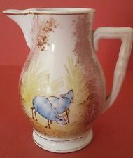 Pot à crème porcelaine opaque de Gien décor Moutons Antique French pitcher