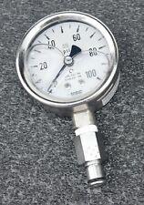 """USG 2.5"""" Gauge 0 -100 psi 1/4"""" lower mount - Liquid Filled"""