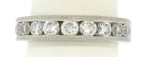 Classic Palladium 1.08ctw Large Round Diamond Milgrain Channel Wedding Band Ring