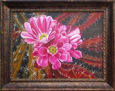 Collectible Original Oil Painting 24x18 Cactus flower Tender Bloom Out of Thorns