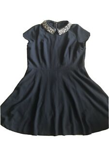 next navy blue dress With Removable Sparkly Collar