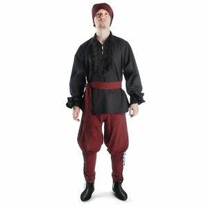 Gothic Rüschenhemd schwarz Piratenhemd - Mittelalter Schnürhemd 100% Baumwolle