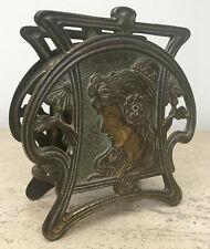 Art Nouveau Bronze/Metal Letter Holder Maiden Lady Woman