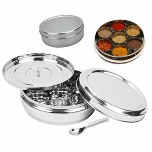 Masala Dabba - High Quality Stainless Steel Spice Tin Box with additional cover